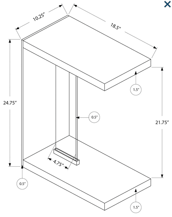 C Table glass dimensions