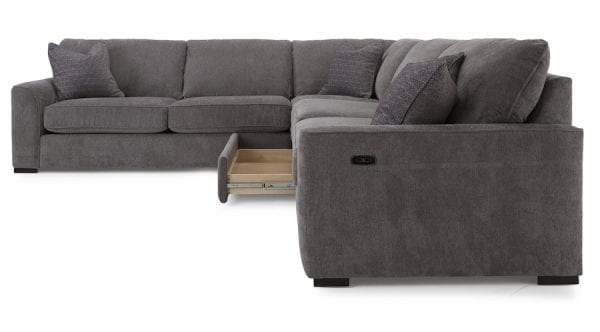 2786 Decor-Rest sectional. Hand made in Canada with a life time warranty on frame and springs. Shown with optional storage drawer