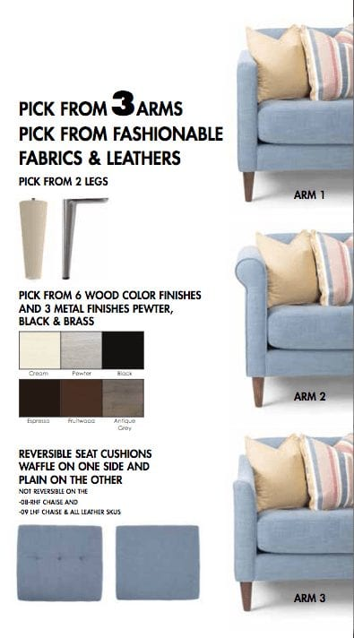 MARCO- Choose arm, fabric and leg - Hand made in Canada