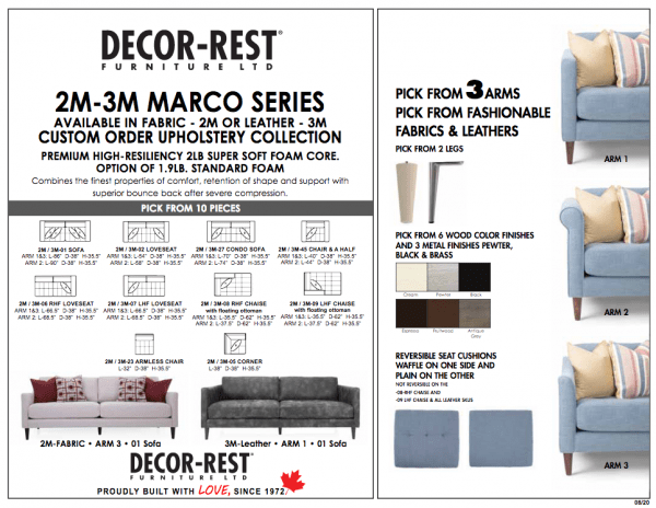 2M1 Decor-Rest. Hand made in Canada. Life time warranty on frame and springs.