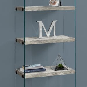 GREY AND GLASS SHELVING